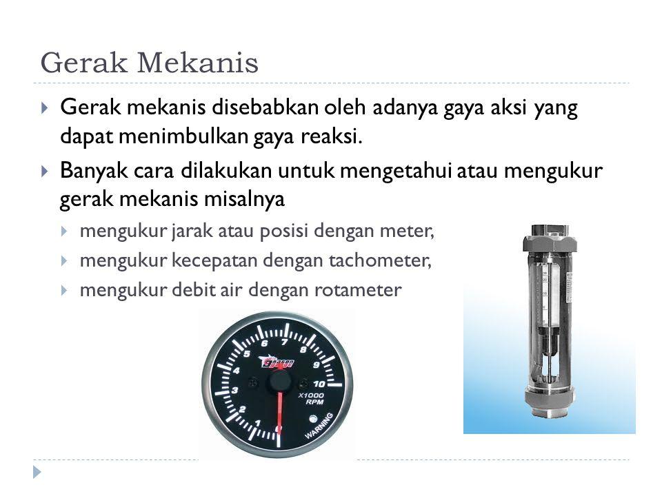 Gerak Mekanis Gerak mekanis disebabkan oleh adanya gaya aksi yang dapat menimbulkan gaya reaksi.