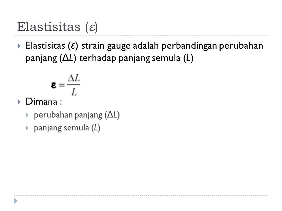 Elastisitas (ε) Elastisitas (ε) strain gauge adalah perbandingan perubahan panjang (ΔL) terhadap panjang semula (L)