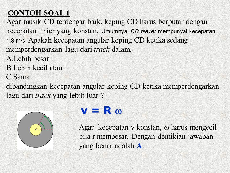 CONTOH SOAL 1 Agar musik CD terdengar baik, keping CD harus berputar dengan.