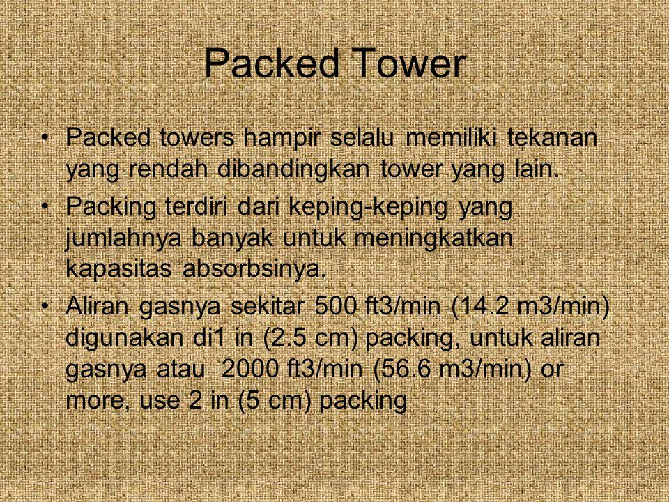 Packed Tower Packed towers hampir selalu memiliki tekanan yang rendah dibandingkan tower yang lain.