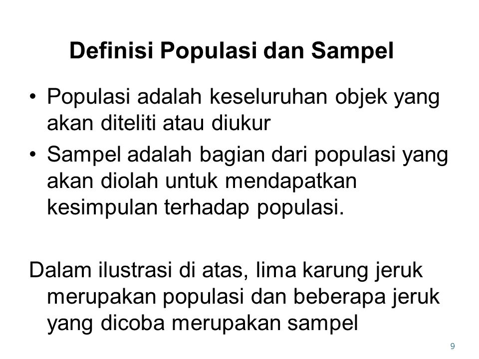 Definisi Populasi dan Sampel