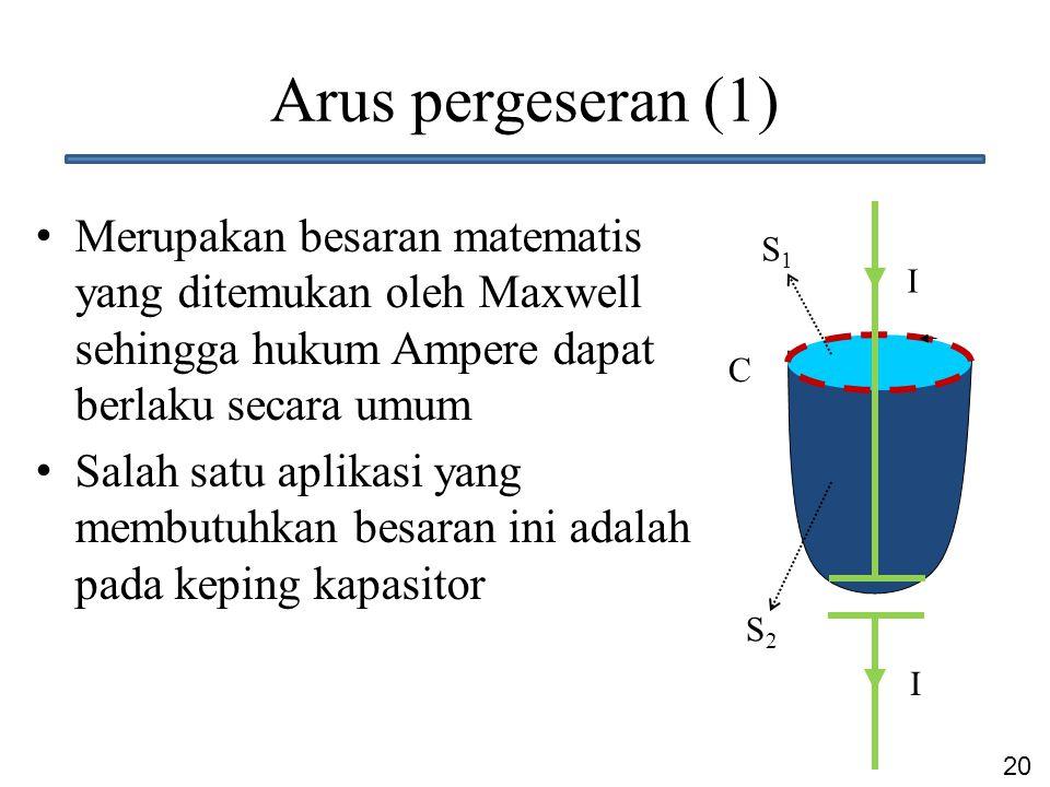Arus pergeseran (1) Merupakan besaran matematis yang ditemukan oleh Maxwell sehingga hukum Ampere dapat berlaku secara umum.