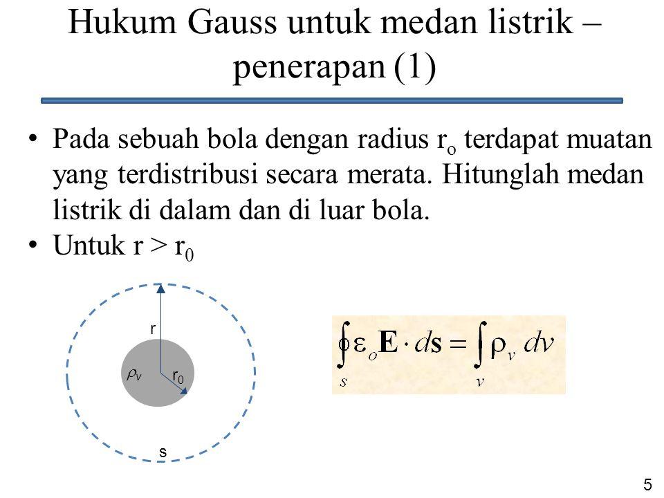 Hukum Gauss untuk medan listrik – penerapan (1)
