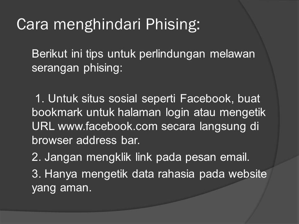 Cara menghindari Phising: