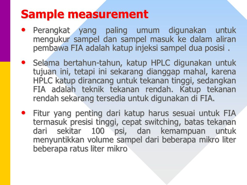 Sample measurement