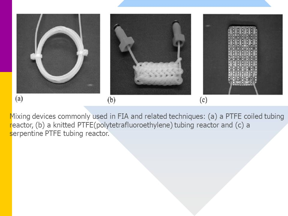 Mixing devices commonly used in FIA and related techniques: (a) a PTFE coiled tubing reactor, (b) a knitted PTFE(polytetrafluoroethylene) tubing reactor and (c) a serpentine PTFE tubing reactor.