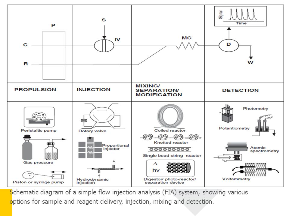 Schematic diagram of a simple flow injection analysis (FIA) system, showing various