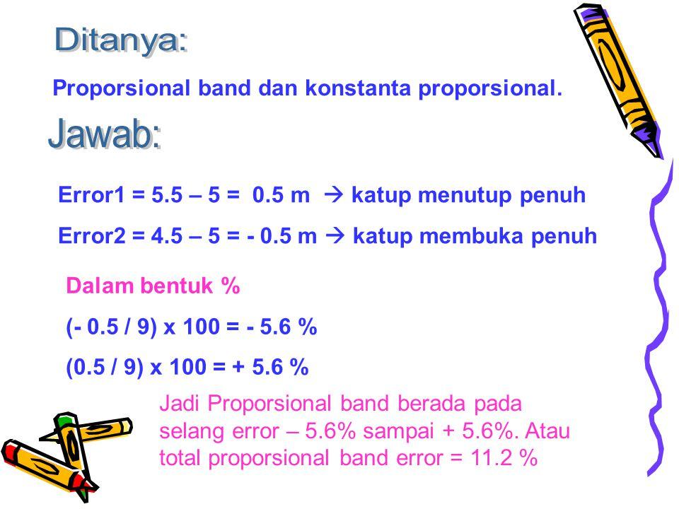 Ditanya: Proporsional band dan konstanta proporsional. Jawab: Error1 = 5.5 – 5 = 0.5 m  katup menutup penuh.