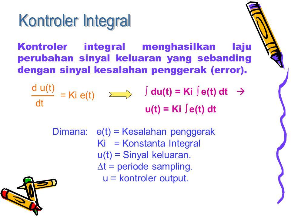Kontroler Integral Kontroler integral menghasilkan laju perubahan sinyal keluaran yang sebanding dengan sinyal kesalahan penggerak (error).