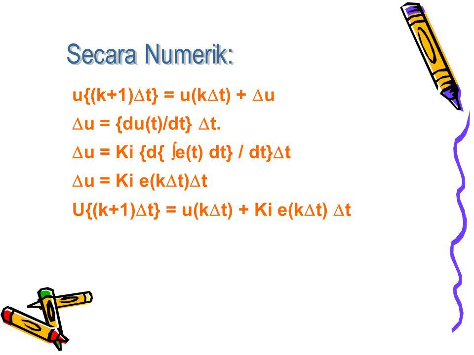 Secara Numerik: u{(k+1)t} = u(kt) + u. u = {du(t)/dt} t. u = Ki {d{ e(t) dt} / dt}t. u = Ki e(kt)t.