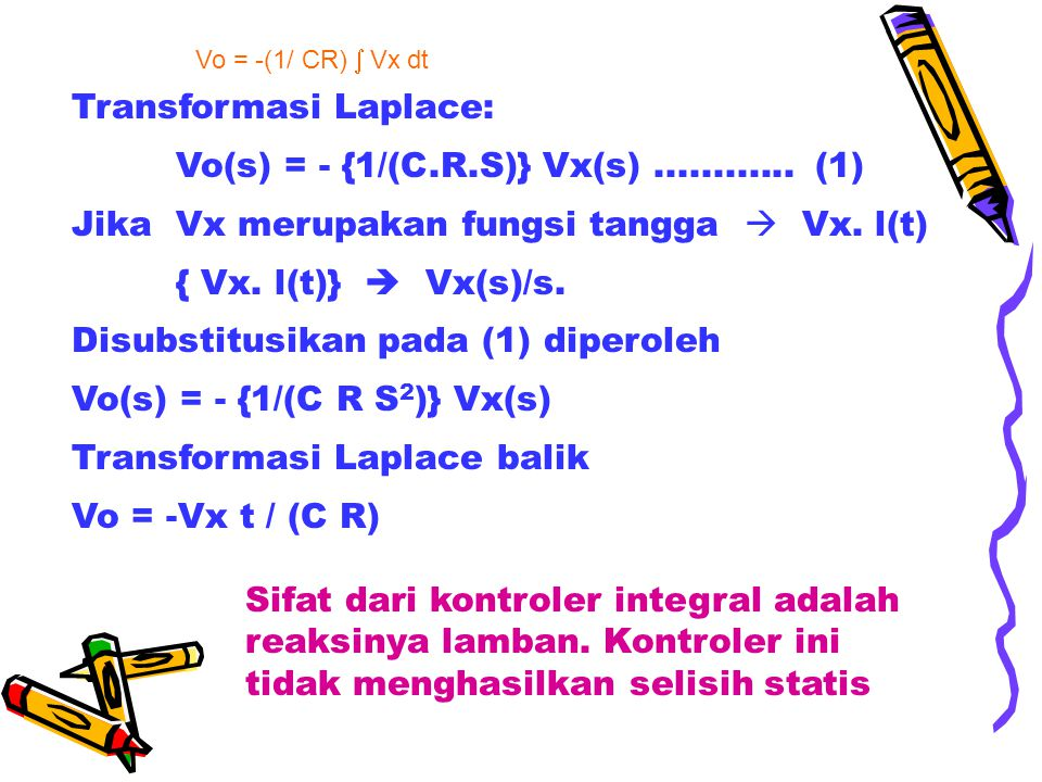 Transformasi Laplace: Vo(s) = - {1/(C.R.S)} Vx(s) ............ (1)
