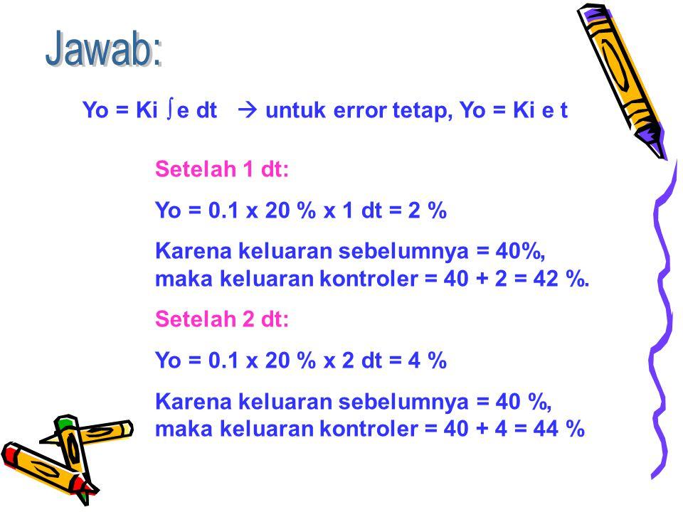 Jawab: Yo = Ki  e dt  untuk error tetap, Yo = Ki e t Setelah 1 dt: