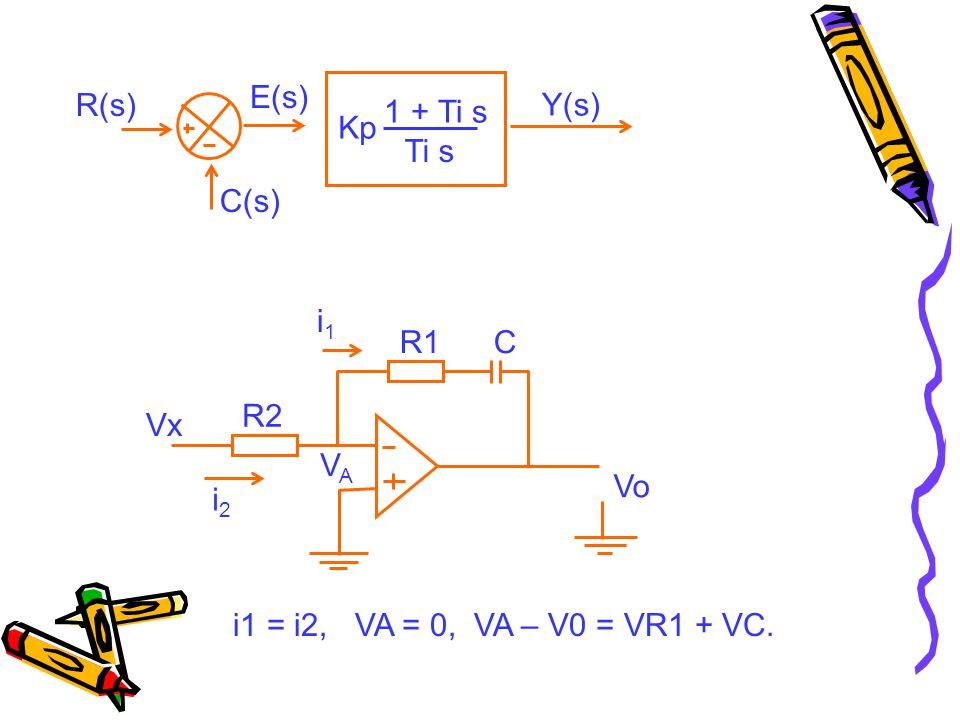 E(s) R(s) Y(s) 1 + Ti s Kp Ti s C(s) i1 R1 C R2 Vx VA Vo i2