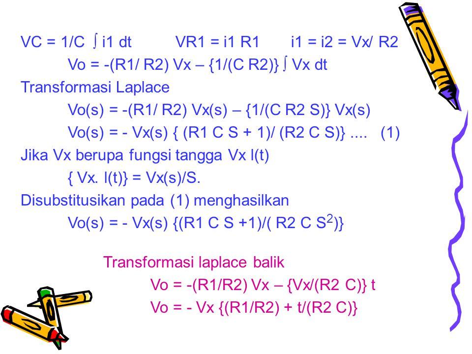 VC = 1/C  i1 dt VR1 = i1 R1 i1 = i2 = Vx/ R2