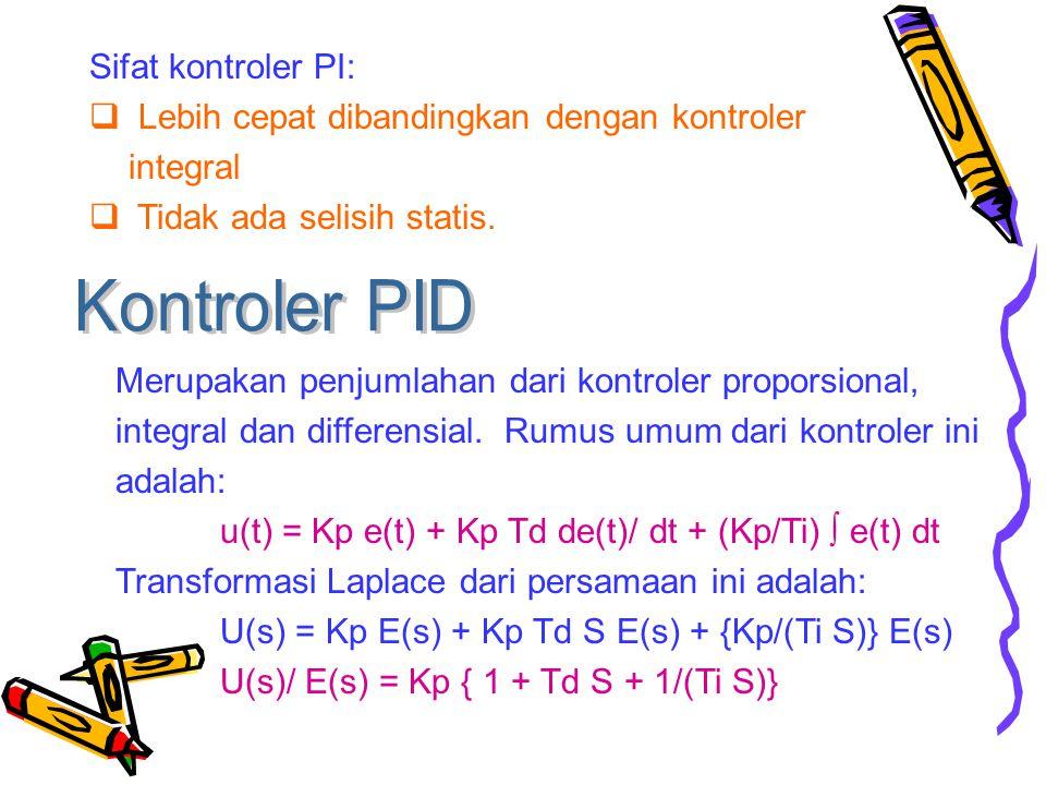 Kontroler PID Sifat kontroler PI: