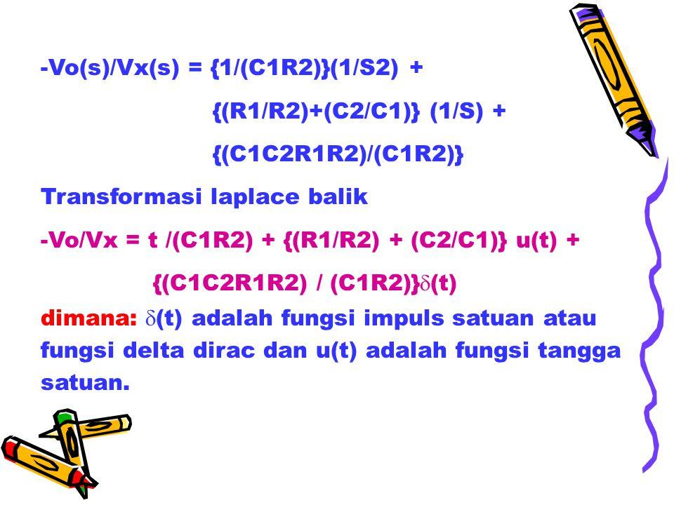 -Vo(s)/Vx(s) = {1/(C1R2)}(1/S2) +