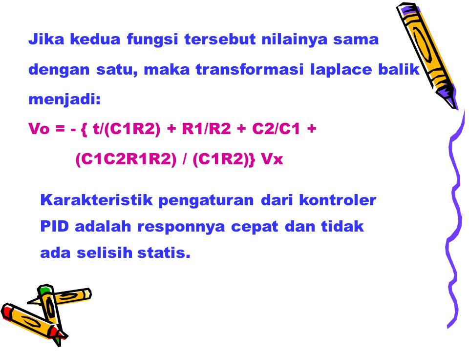 Jika kedua fungsi tersebut nilainya sama dengan satu, maka transformasi laplace balik menjadi: