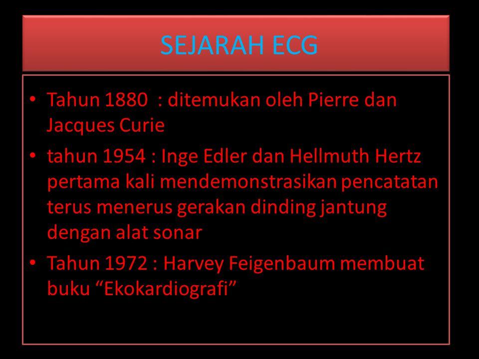 SEJARAH ECG Tahun 1880 : ditemukan oleh Pierre dan Jacques Curie