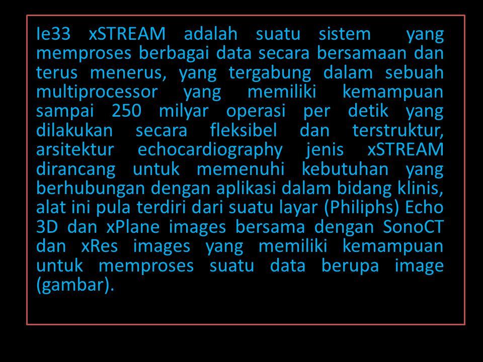 Ie33 xSTREAM adalah suatu sistem yang memproses berbagai data secara bersamaan dan terus menerus, yang tergabung dalam sebuah multiprocessor yang memiliki kemampuan sampai 250 milyar operasi per detik yang dilakukan secara fleksibel dan terstruktur, arsitektur echocardiography jenis xSTREAM dirancang untuk memenuhi kebutuhan yang berhubungan dengan aplikasi dalam bidang klinis, alat ini pula terdiri dari suatu layar (Philiphs) Echo 3D dan xPlane images bersama dengan SonoCT dan xRes images yang memiliki kemampuan untuk memproses suatu data berupa image (gambar).
