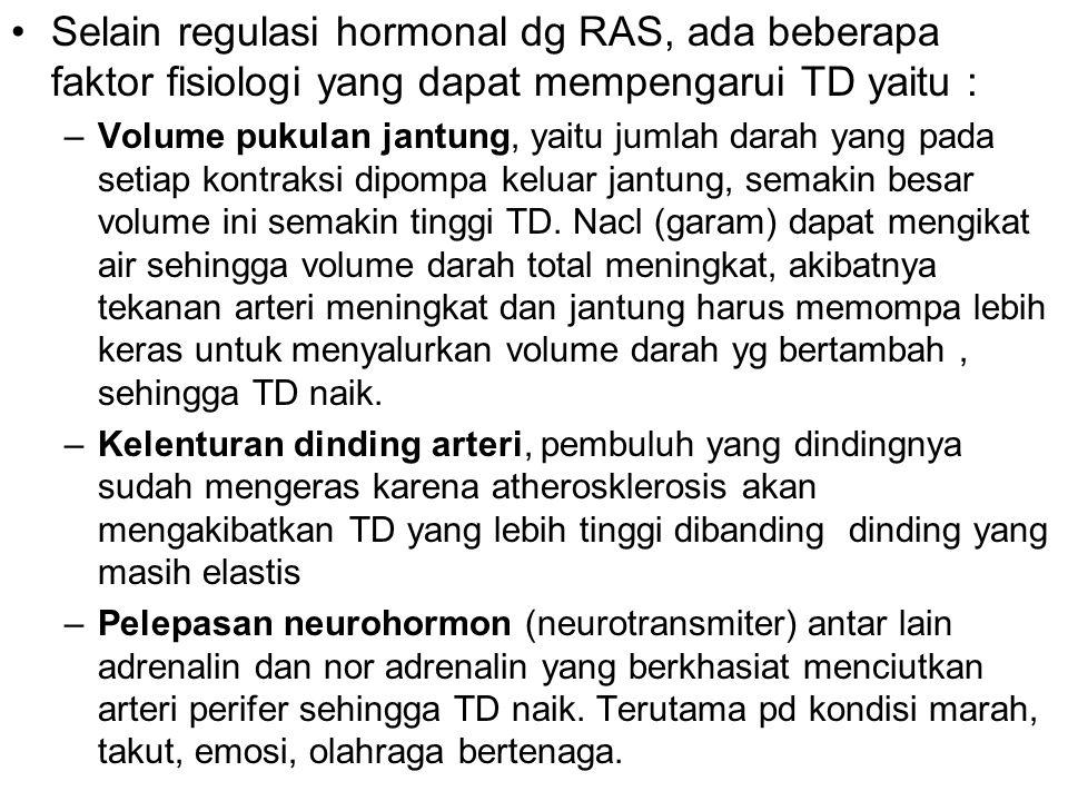 Selain regulasi hormonal dg RAS, ada beberapa faktor fisiologi yang dapat mempengarui TD yaitu :