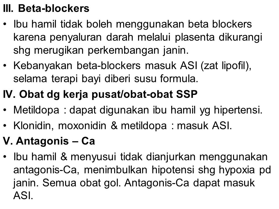 III. Beta-blockers