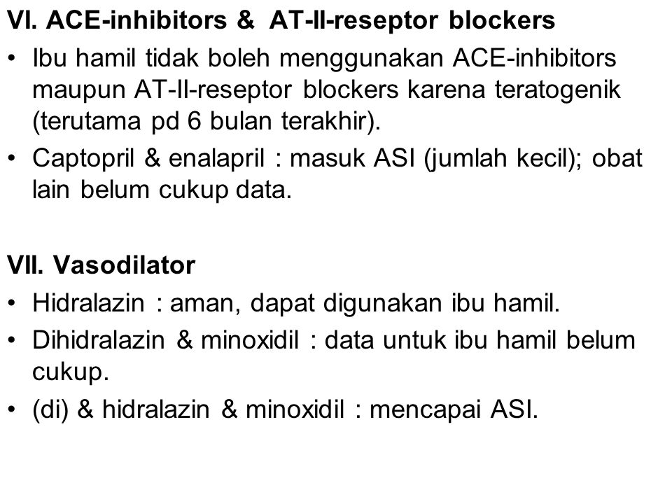 VI. ACE-inhibitors & AT-II-reseptor blockers