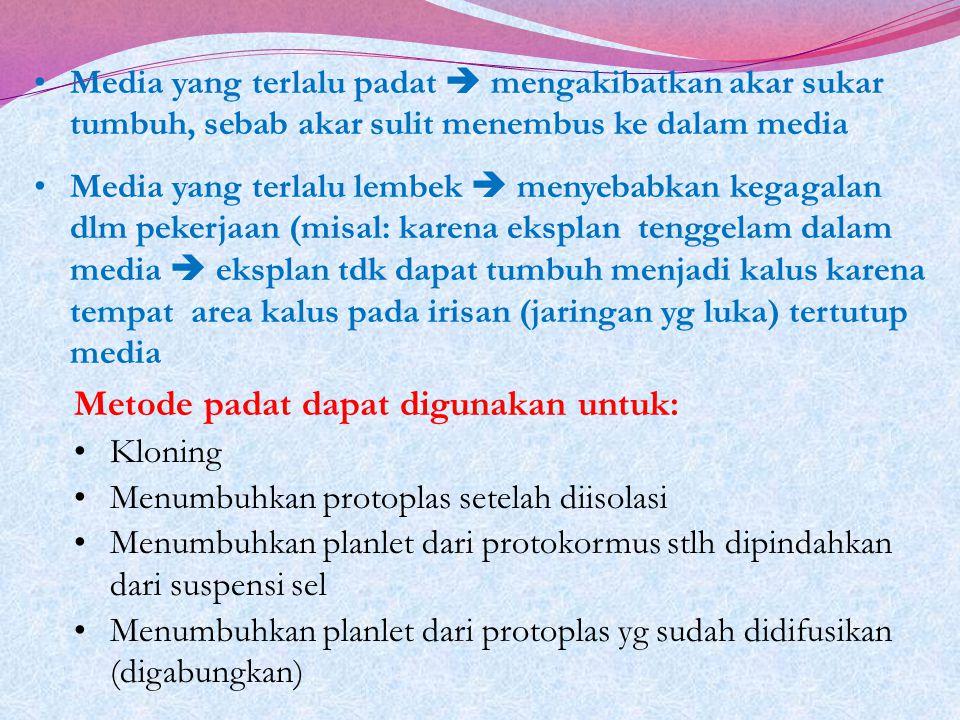 Metode padat dapat digunakan untuk: