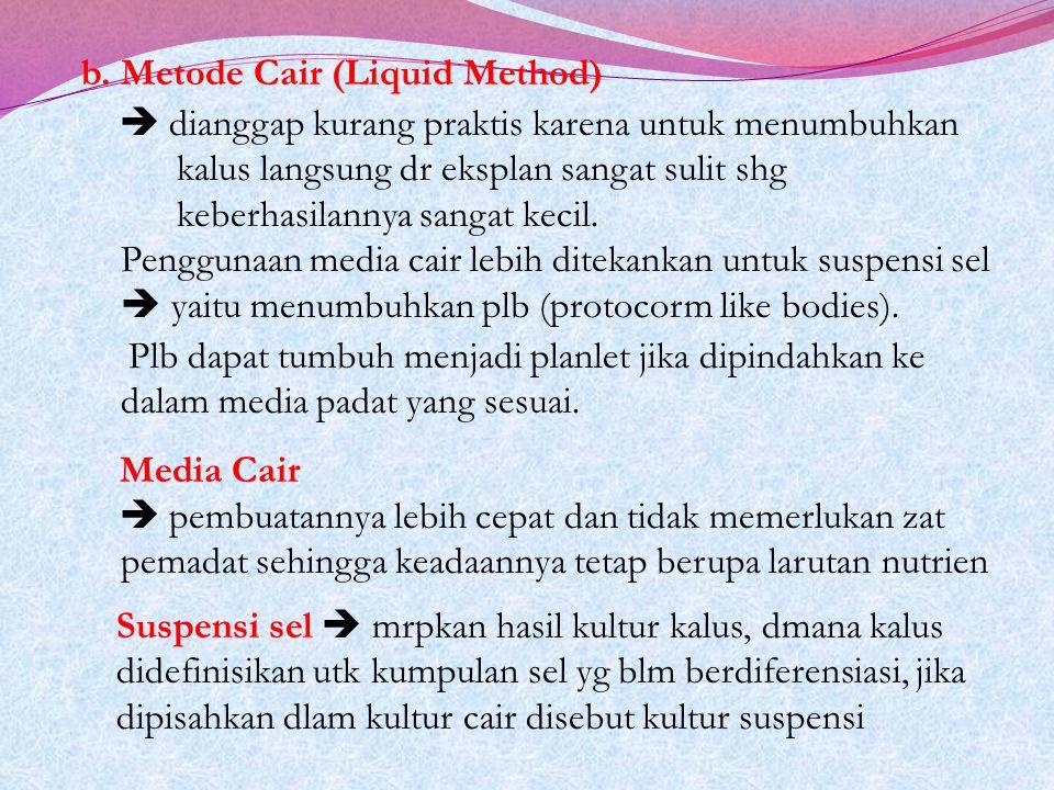 b. Metode Cair (Liquid Method)