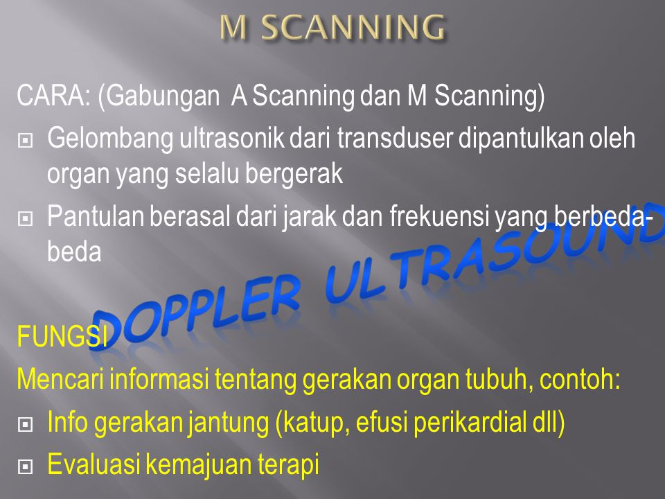DOPPLER ULTRASOUND M SCANNING