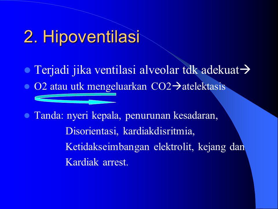 2. Hipoventilasi Terjadi jika ventilasi alveolar tdk adekuat