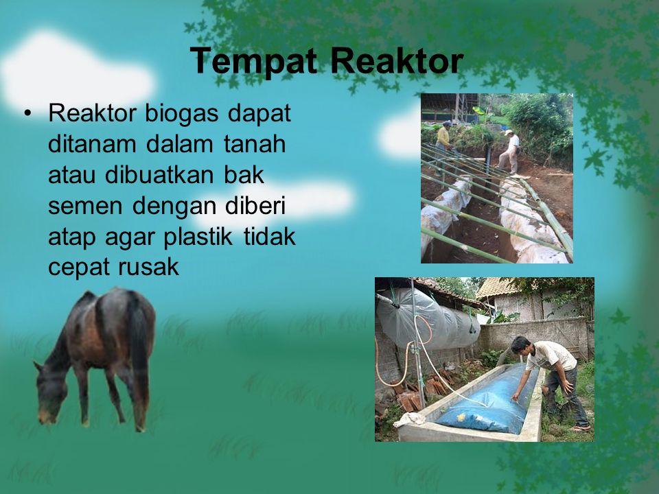 Tempat Reaktor Reaktor biogas dapat ditanam dalam tanah atau dibuatkan bak semen dengan diberi atap agar plastik tidak cepat rusak.