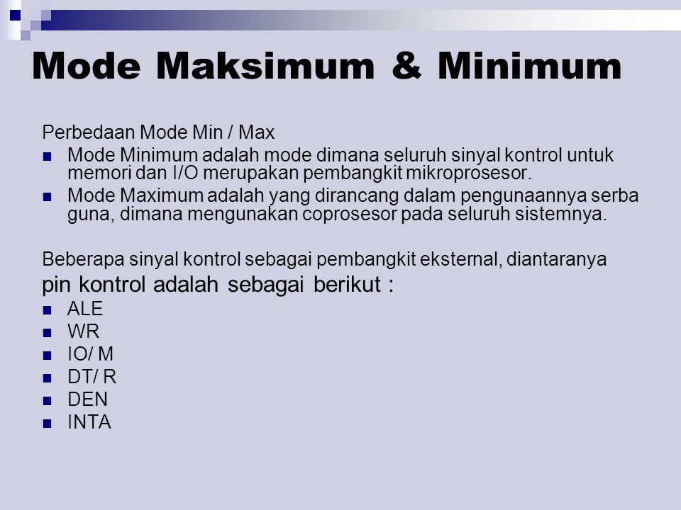 Mode Maksimum & Minimum