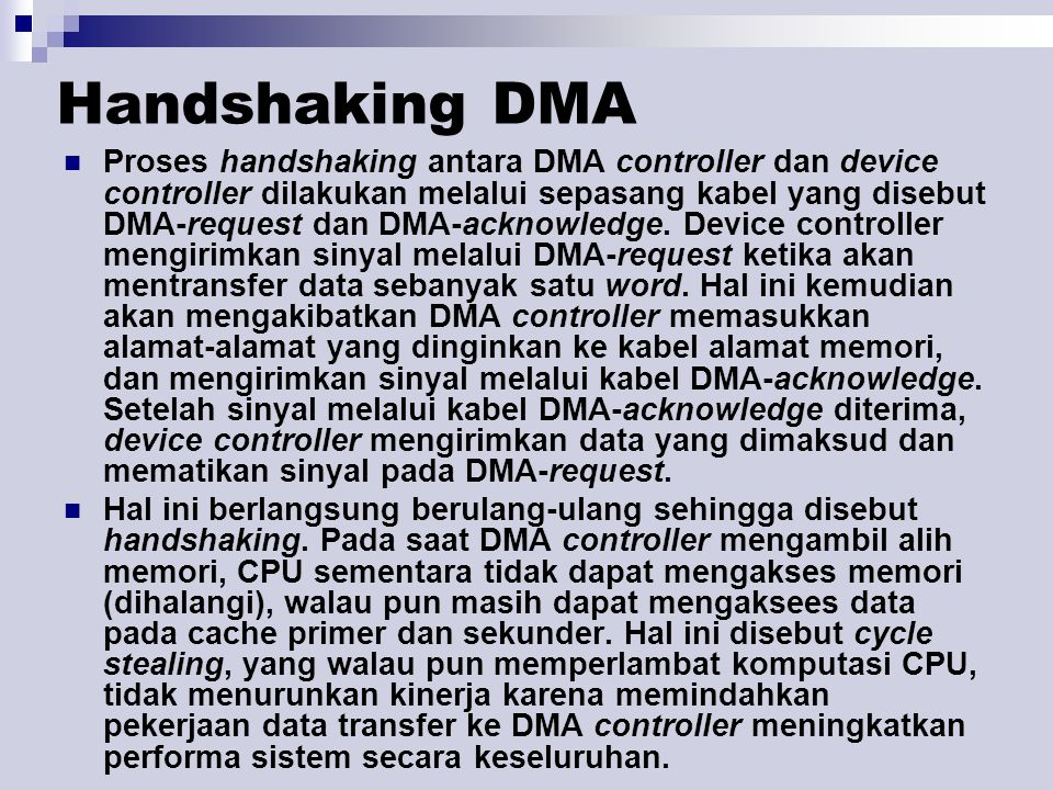 Handshaking DMA