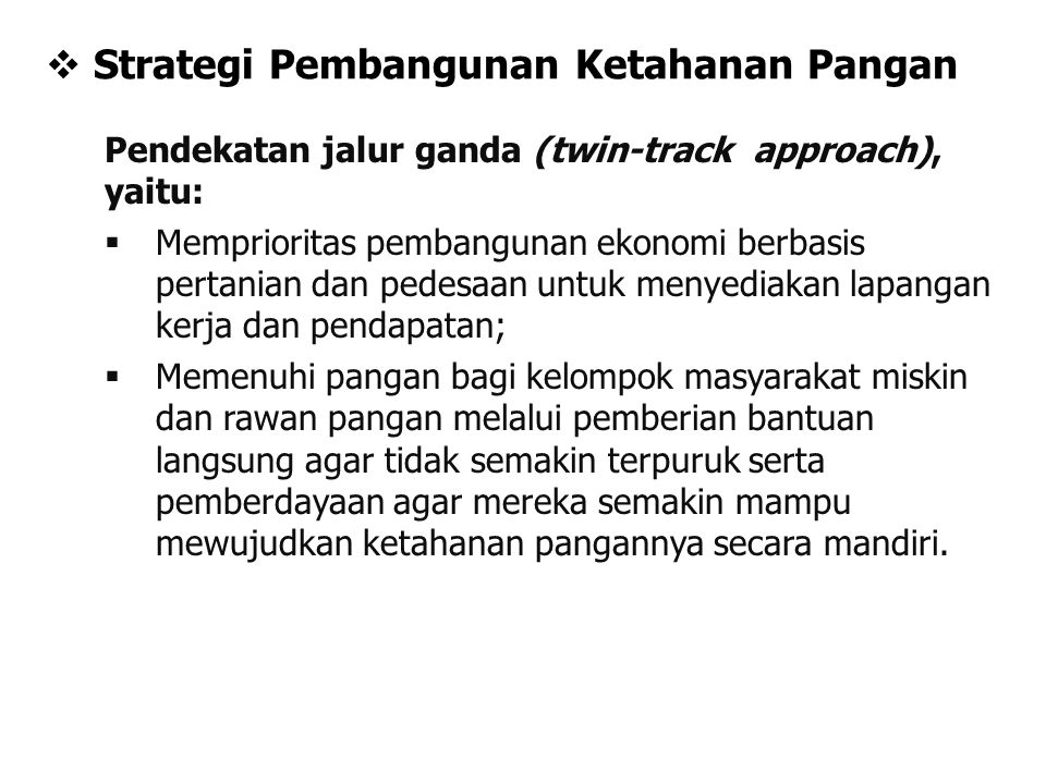 Strategi Pembangunan Ketahanan Pangan