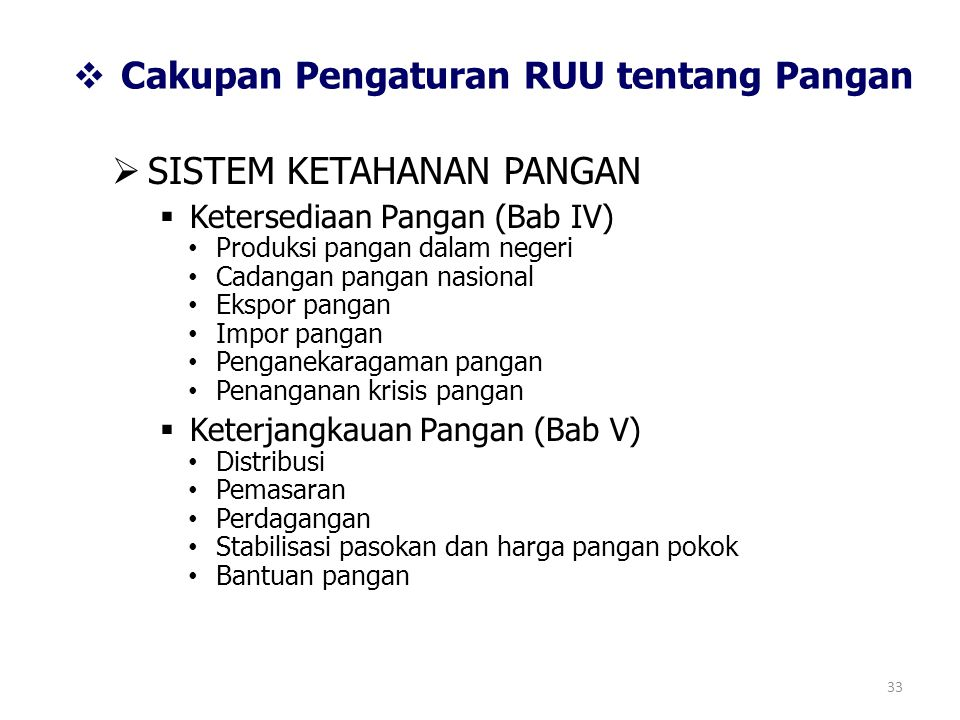 Cakupan Pengaturan RUU tentang Pangan