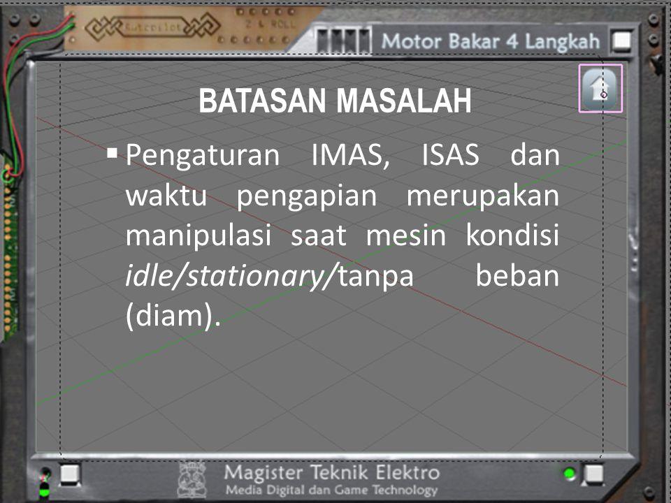BATASAN MASALAH Pengaturan IMAS, ISAS dan waktu pengapian merupakan manipulasi saat mesin kondisi idle/stationary/tanpa beban (diam).