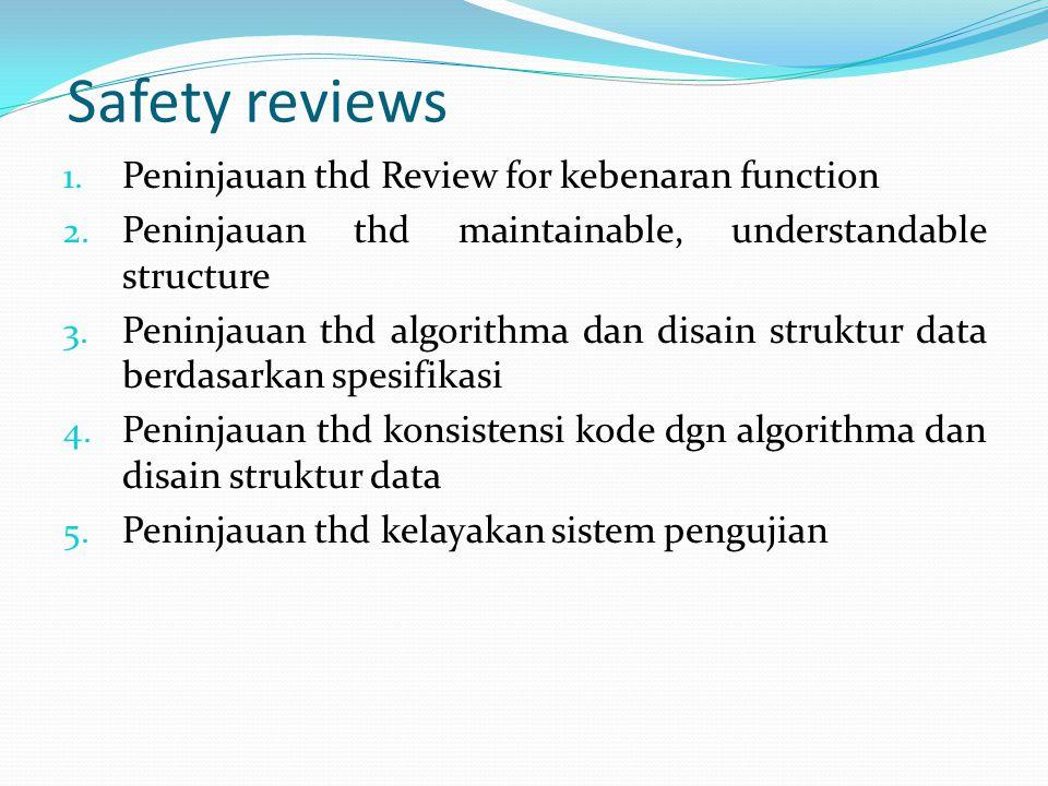 Safety reviews Peninjauan thd Review for kebenaran function