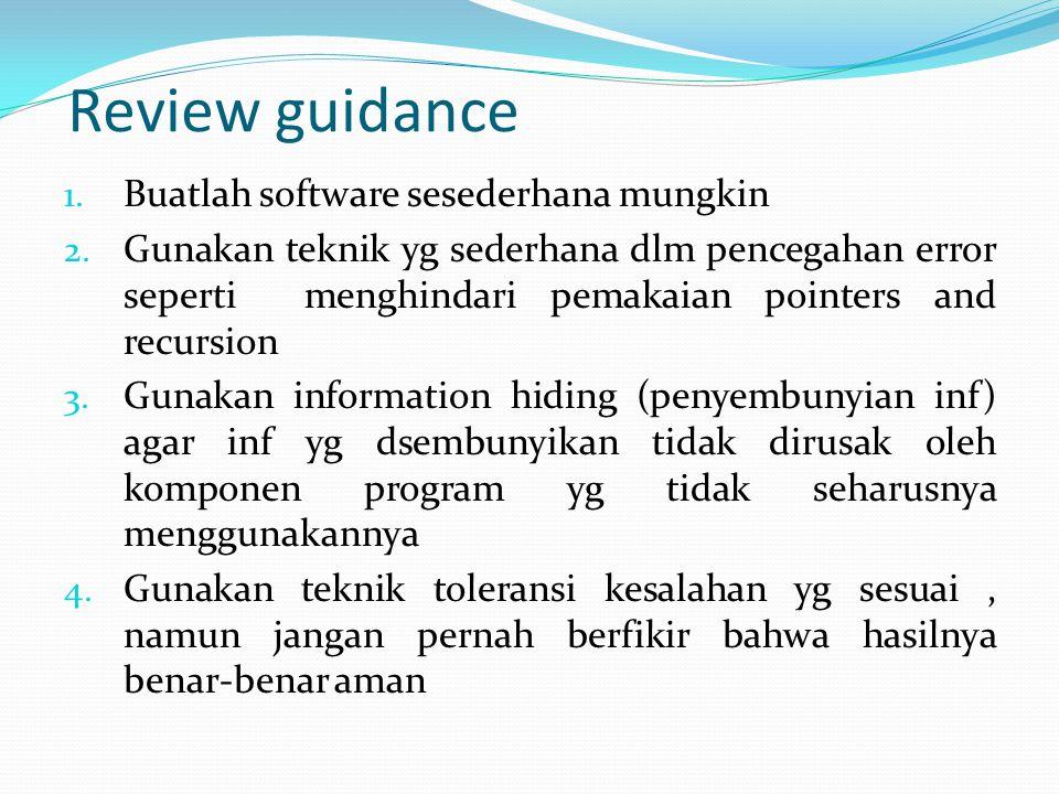 Review guidance Buatlah software sesederhana mungkin