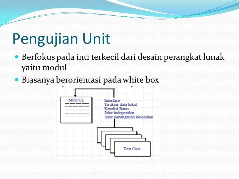 Pengujian Unit Berfokus pada inti terkecil dari desain perangkat lunak yaitu modul.