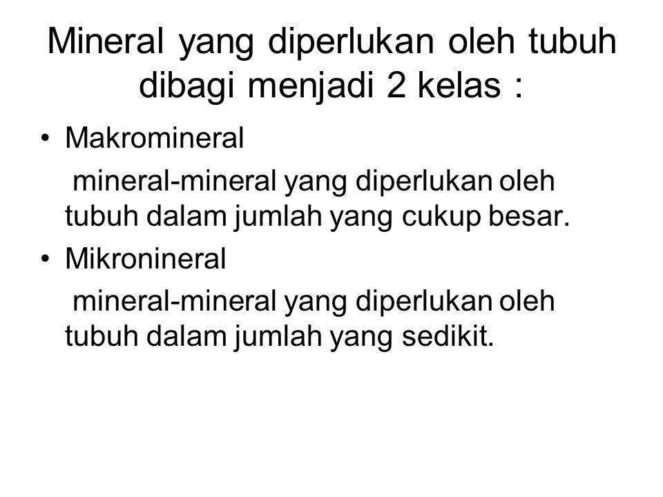 Mineral yang diperlukan oleh tubuh dibagi menjadi 2 kelas :