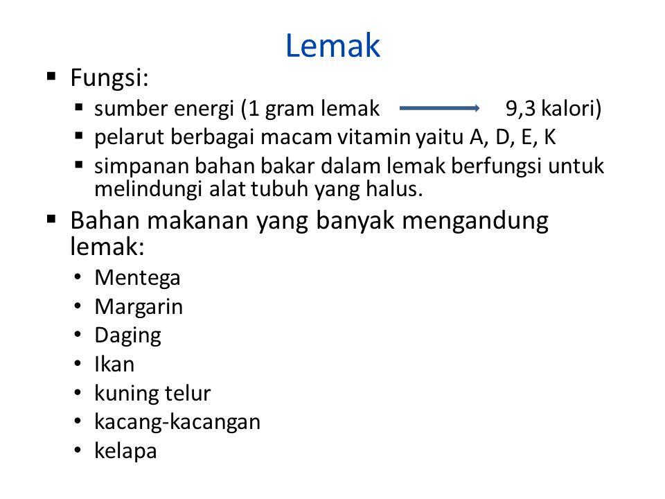 Lemak Fungsi: Bahan makanan yang banyak mengandung lemak: