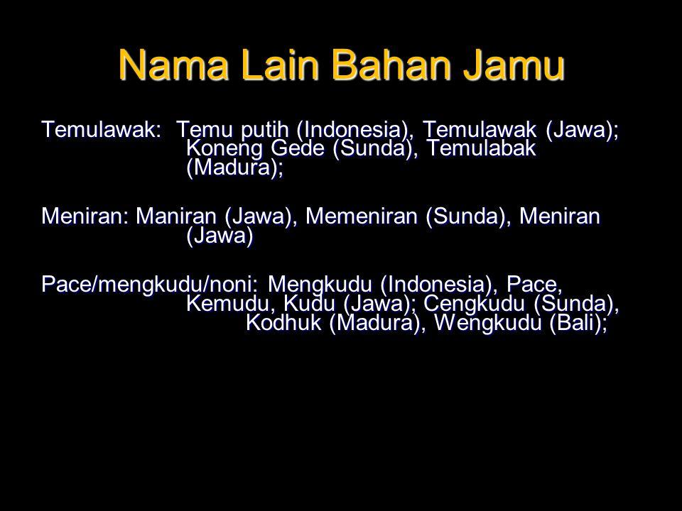 Nama Lain Bahan Jamu Temulawak: Temu putih (Indonesia), Temulawak (Jawa); Koneng Gede (Sunda), Temulabak (Madura);