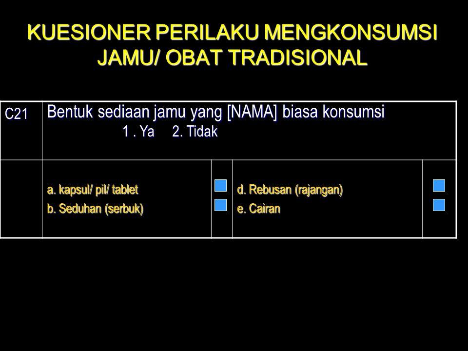 KUESIONER PERILAKU MENGKONSUMSI JAMU/ OBAT TRADISIONAL
