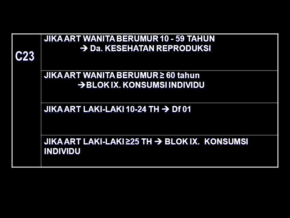 C23 JIKA ART WANITA BERUMUR 10 - 59 TAHUN  Da. KESEHATAN REPRODUKSI