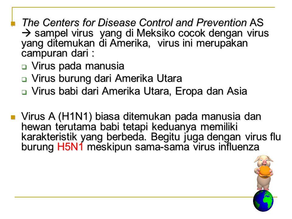 The Centers for Disease Control and Prevention AS  sampel virus yang di Meksiko cocok dengan virus yang ditemukan di Amerika, virus ini merupakan campuran dari :