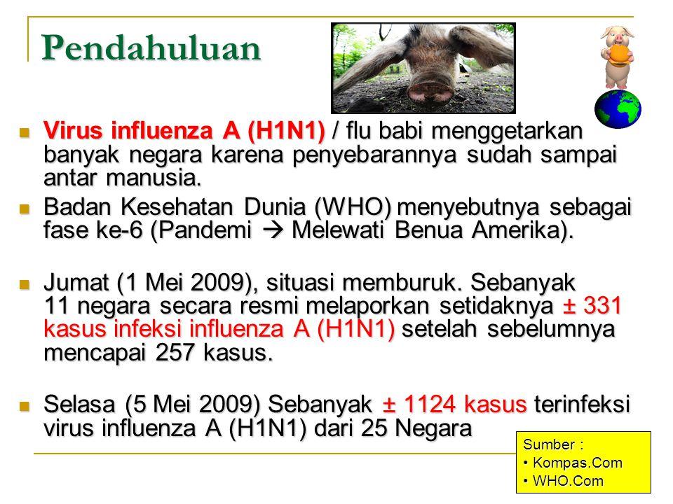 Pendahuluan Virus influenza A (H1N1) / flu babi menggetarkan banyak negara karena penyebarannya sudah sampai antar manusia.
