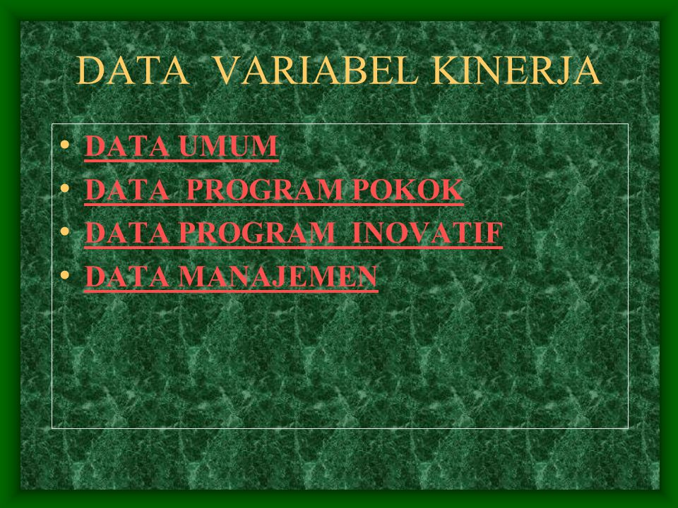 DATA VARIABEL KINERJA DATA UMUM DATA PROGRAM POKOK