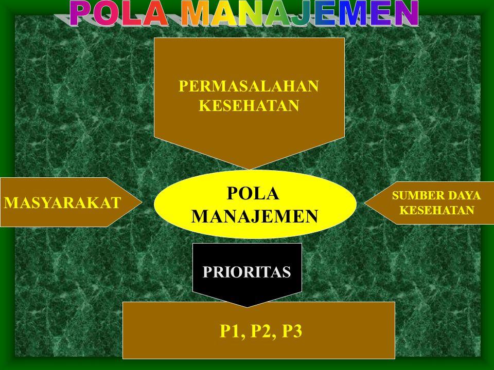 POLA MANAJEMEN POLA MANAJEMEN P1, P2, P3 PERMASALAHAN KESEHATAN