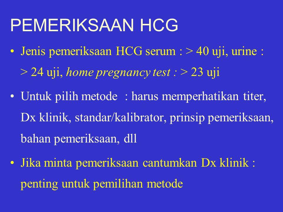 PEMERIKSAAN HCG Jenis pemeriksaan HCG serum : > 40 uji, urine : > 24 uji, home pregnancy test : > 23 uji.