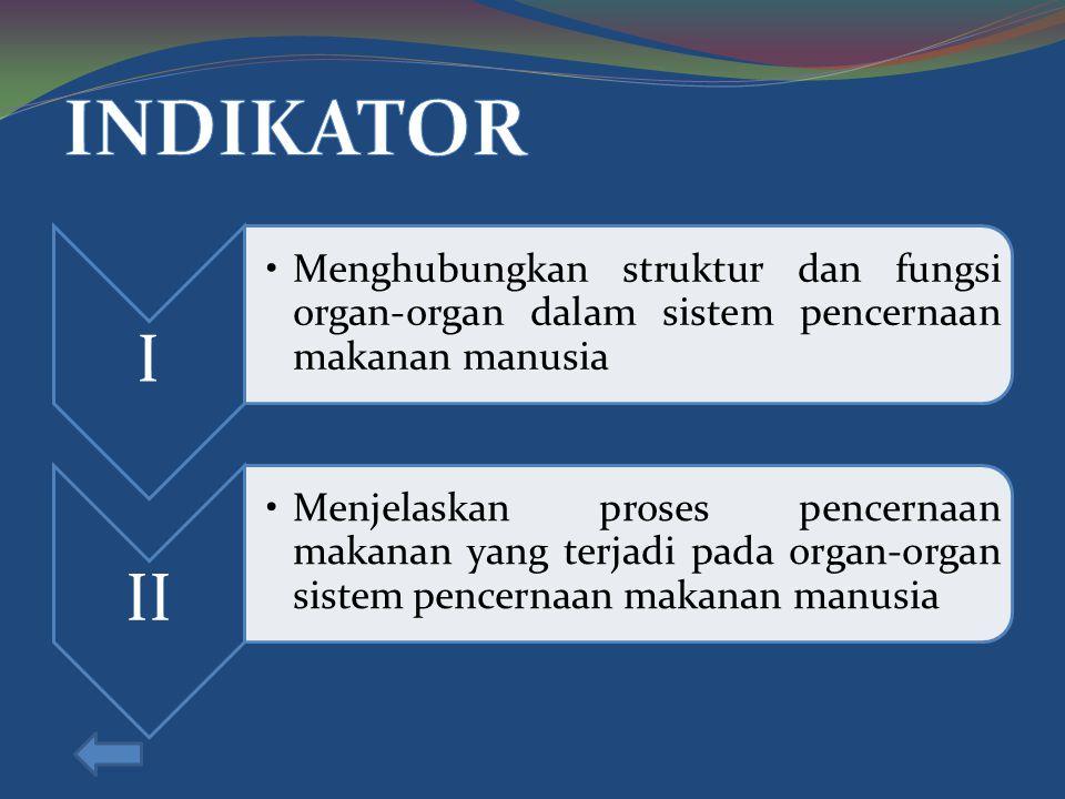 INDIKATOR I. Menghubungkan struktur dan fungsi organ-organ dalam sistem pencernaan makanan manusia.